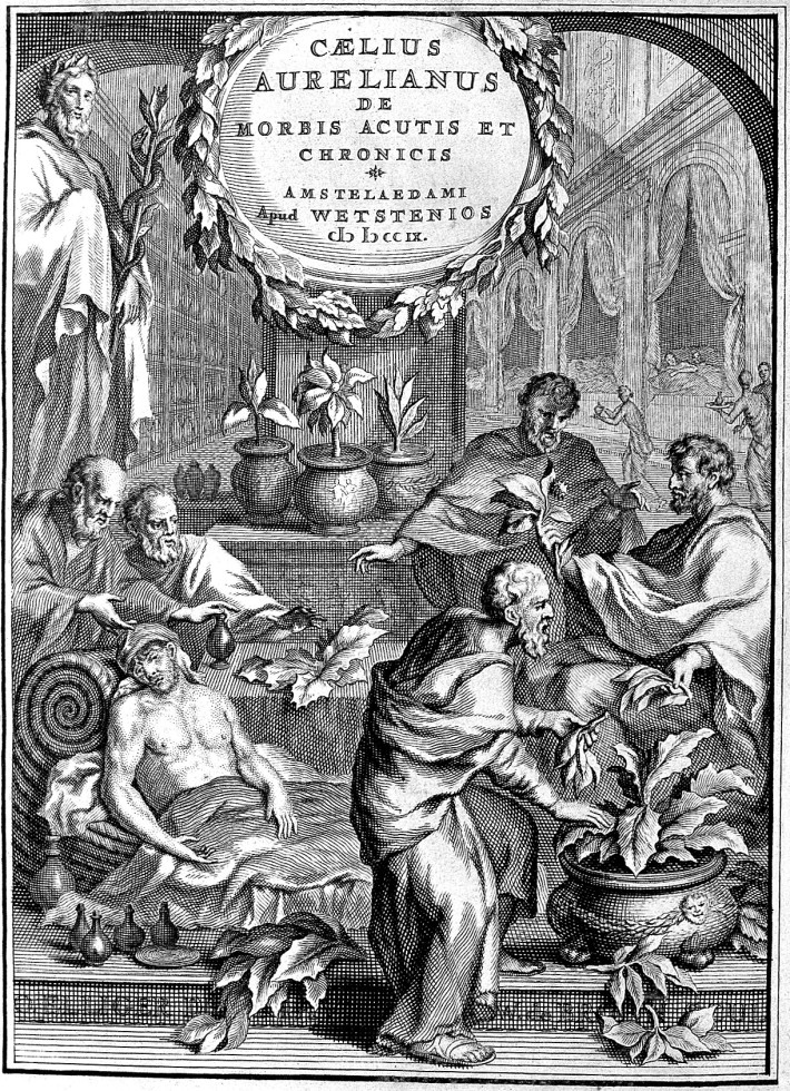 L0002099 Caelius Aurelianus: herbs given to the sick Credit: Wellcome Library, London. Wellcome Images images@wellcome.ac.uk http://wellcomeimages.org Sick people being treated with herbs. Engraving and text De morbis acutis et chronicis Caelius Aurelianus Published: 1709 Copyrighted work available under Creative Commons Attribution only licence CC BY 4.0 http://creativecommons.org/licenses/by/4.0/
